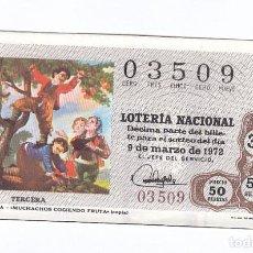 Lotería Nacional: DÉCIMO DE LA LOTERÍA NACIONAL. SORTEO Nº 8 DE 1972. NÚMERO 03509.. Lote 210121750