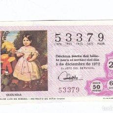 Lotería Nacional: DÉCIMO DE LA LOTERÍA NACIONAL. SORTEO Nº 38 DE 1972. NÚMERO 53379.. Lote 210122218