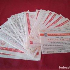 Lotería Nacional: LOTE DE 38 PAPELETAS DE SORTEOS DE COCHES Y CHALET, AÑOS 80, CAJA DE AHORROS DE RONDA. Lote 210184111