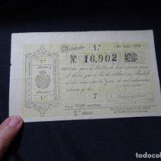Lotería Nacional: DECIMO LOTERIA DEL 27 DE JUNIO DE 1882.VALENCIA..BIEN CONSERVADO. Lote 210560606