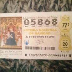 Lotería Nacional: DECIMO LOTERIA NAVIDAD AÑO 2018 -- N 05868. Lote 210616087