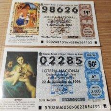Lotería Nacional: LOTERIA NACIONAL 1996. NÚMEROS 02285 Y 98626. 5 ENERO Y 22 DICIEMBRE. Lote 210759674