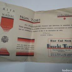 Lotería Nacional: LOTERÍA RIFA DE NADAL BAR CAL NEN PLAZA SANT DOMENEC MANRESA 1935. Lote 211451557