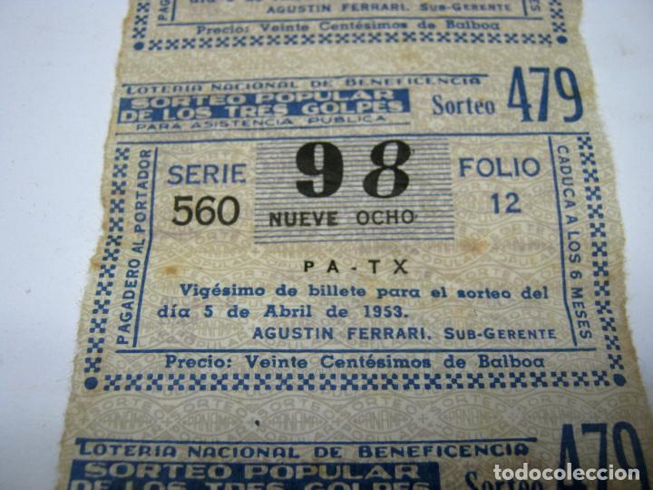 Lotería Nacional: 1953 - tira serie Loteria Nacional Beneficiencia Tres Golpes - Foto 3 - 211658816