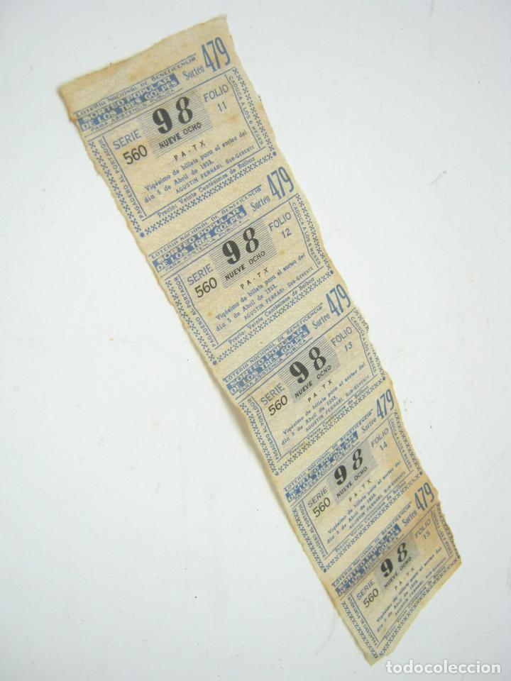 1953 - TIRA SERIE LOTERIA NACIONAL BENEFICIENCIA TRES GOLPES (Coleccionismo - Lotería Nacional)