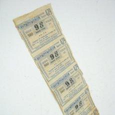 Lotería Nacional: 1953 - TIRA SERIE LOTERIA NACIONAL BENEFICIENCIA TRES GOLPES. Lote 211658816