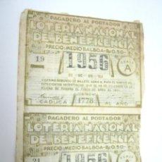 Lotería Nacional: RARA LOTERIA NACIONAL DE BENEFICIENCIA DE PANAMA 1953 - 2 CUPONES. Lote 211659240