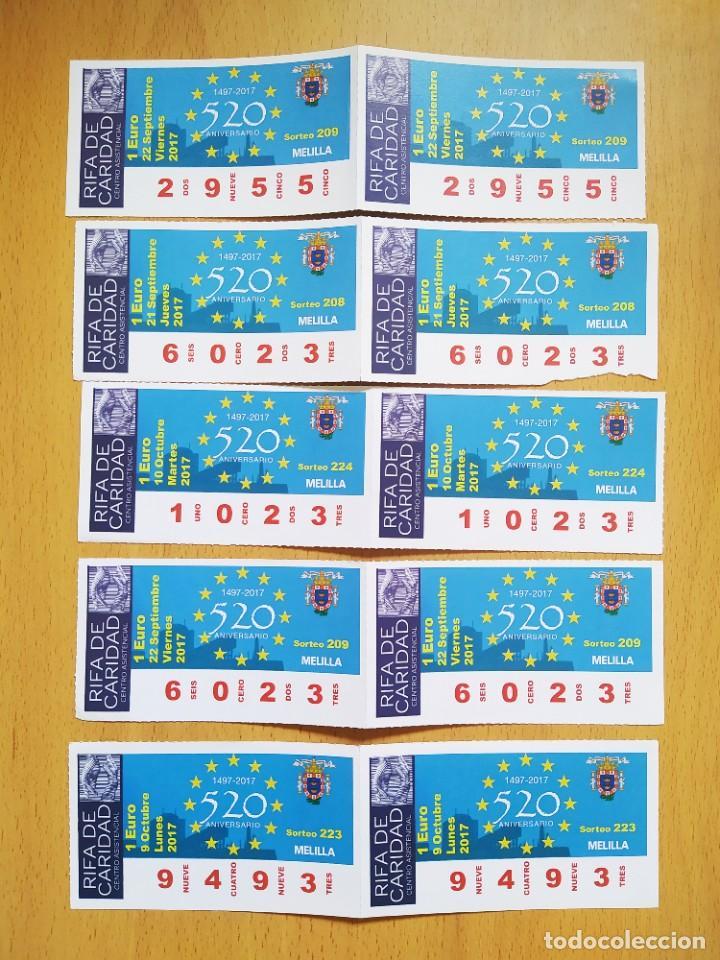 LOTE 10 CUPONES LOTERÍA DE LA CARIDAD DE MELILLA (Coleccionismo - Lotería Nacional)