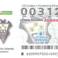 Lotería Nacional: 1 DECIMO LOTERIA NACIONAL JUEVES 31 ENERO 2019 - 9/19 - ALBACETE C.F LIGA FUTBOL FEMENINO IBERDROLA. Lote 212010540