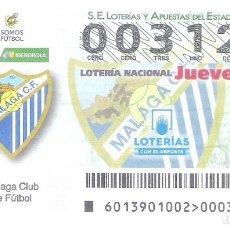 Lotería Nacional: 1 DECIMO LOTERIA JUEVES - 14 FEBRERO 2019 - 13/19 - LIGA FUTBOL MALAGA C.F FEMENINO IBERDROLA. Lote 212010722