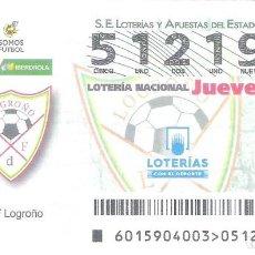 Lotería Nacional: 1 DECIMO LOTERIA JUEVES - 21 FEBRERO 2019 - 15/19 - LA LIGA FUTBOL FEMENINO IBERDROLA - EDF LOGROÑO. Lote 212010861