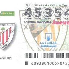 Lotería Nacional: 1 DECIMO LOTERIA DEL JUEVES 23 NOVIEMBRE 2018 93/18 CAPICUA LIGA FUTBOL ATHLETIC BILBAO - FEMENINO. Lote 212011022