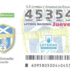 Lotería Nacional: 1 DECIMO LOTERIA JUEVES 29 NOVIEMBRE 2018 95/18 LIGA FEMENINA FUTBOL CAPICUA U.D GRANADILLA TENERIFE. Lote 212011127