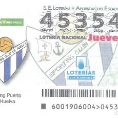 Lotería Nacional: 1 DECIMO LOTERIA DEL JUEVES 3 ENERO 2019 1/19 CAPICUA LIGA FUTBOL FEMENINA SPORTING PUERTO DE HUELVA. Lote 212011491