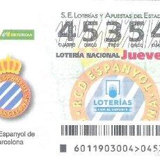 Lotería Nacional: 1 DECIMO LOTERIA NACIONAL JUEVES 7 FEBRERO 2019 11/19 CAPICUA R.C.D ESPANYOL LIGA FUTBOL IBERDROLA. Lote 212011787