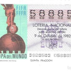 Lotería Nacional: 1 DECIMO LOTERIA DEL SABADO - 9 OCTUBRE 1982 - 39/82 - CARTEL MUNDIAL DE FRANCIA 1938 CAPICUA. Lote 212014436