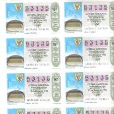 Lotería Nacional: BILLETE LOTERIA SABADO 13 MARZO 1982 10/82 CAPICUA MUNDIAL ESPAÑA ESTADIO SAN MAMES ATHLETIC BILBAO. Lote 212014982