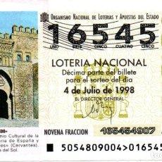 Lotteria Nationale Spagnola: LOTERÍA NACIONAL - AÑO 1998 - SORTEO 54 - PUERTA DEL SOL DE TOLEDO -. Lote 212360856