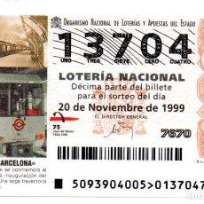 Lotteria Nationale Spagnola: LOTERÍA NACIONAL - AÑO 1999 - SORTEO 93 - METRO DE BARCELONA -. Lote 213026323