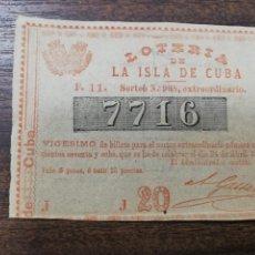 Lotería Nacional: LOTERIA NACIONAL DE CUBA. 24 DE ABRIL DE 1876.. Lote 213045480