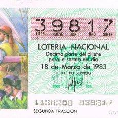 Lotería Nacional: LOTERIA NACIONAL DEL 18 DE MARZO DE 1983, AGUJA NAUTICA. Lote 213646792