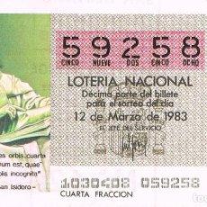 Lotería Nacional: LOTERIA NACIONAL DEL 12 DE MARZO DE 1983, SAN ISIDORO. Lote 213646877
