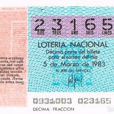 Lotería Nacional: LOTERIA NACIONAL DEL 5 DE MARZO DE 1983, TRAGEDIAS DE SENECA. Lote 213646983