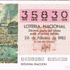 Lotería Nacional: LOTERIA NACIONAL DEL 26 DE FEBRERO DE 1983, VISTA DE SEVILLA. Lote 213647058