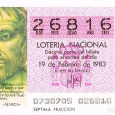Lotería Nacional: LOTERIA NACIONAL DEL 19 DE FEBRERO DE 1983, SENECA. Lote 213647282