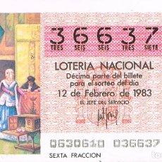Lotería Nacional: LOTERIA NACIONAL DEL 12 DE FEBRERO DE 1983, LAS JOYAS DE ISABEL LA CATÓLICA (DESCUBRIMIENTO AMERICA). Lote 213647500