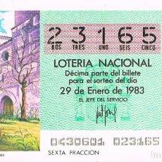 Lotería Nacional: LOTERIA NACIONAL DEL 29 DE ENERO DE 1983, MADRIGAL DE LAS ALTAS TORRES. Lote 213647657