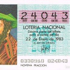Lotería Nacional: LOTERIA NACIONAL DEL 22 DE ENERO DE 1983, PTOLOMEO. Lote 213647722