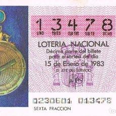 Lotería Nacional: LOTERIA NACIONAL DEL 15 DE ENERO DE 1983, ASTROLABIO MARINERO DEL SIGLO XVI. Lote 213647851