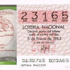 Lotería Nacional: LOTERIA NACIONAL DEL 5 DE ENERO DE 1983, PLANETARIO DEL IMAGO MUNDI. Lote 213647901