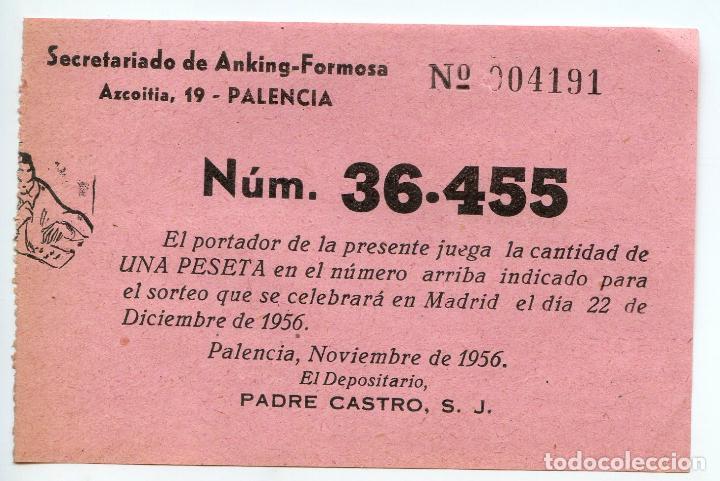 PARTICIPACIÓN DE LOTERÍA DE NAVIDAD 1956, MISIONEROS SECRETARIADO DE ANKING-FORMOSA EN PALENCIA (Coleccionismo - Lotería Nacional)