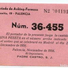 Lotería Nacional: PARTICIPACIÓN DE LOTERÍA DE NAVIDAD 1956, MISIONEROS SECRETARIADO DE ANKING-FORMOSA EN PALENCIA. Lote 214130430