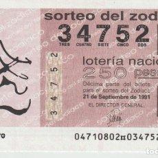 Lotería Nacional: LOTERIA NACIONAL DEL ZODIACO. Lote 214884451