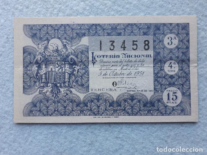 DÉCIMO. SORTEO Nº: 28 DE 1951. (Coleccionismo - Lotería Nacional)