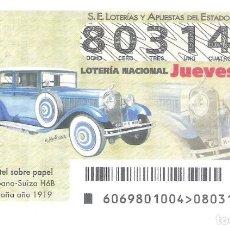 Lotería Nacional: 1 DECIMO LOTERIA DEL JUEVES - 30 AGOSTO 2018 - 69/18 COCHES VEHICULOS ANTIGUOS - HISPANO SUIZA H6B. Lote 217826503