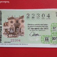 Lotería Nacional: DECIMO DE LOTERIA NACIONAL AÑO 1971 SORTEO Nº 13. Lote 218300867