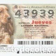 Lotería Nacional: LOTERÍA JUEVES, SORTEO Nº 63 DE 2004. RAZAS CANINAS. COCKER SPANIEL INGLÉS. 10-0463. Lote 218545971