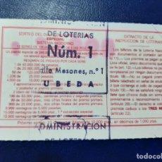 Lotería Nacional: LOTERIA NACIONAL ADMINISTRACIÓN NÚMERO 1 DE UBEDA - JAÉN. Lote 219019983