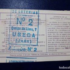 Lotería Nacional: LOTERIA NACIONAL ADMINISTRACIÓN NÚMERO 2 DE UBEDA - JAÉN. Lote 219020016
