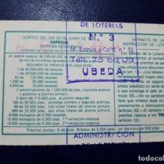 Lotería Nacional: LOTERIA NACIONAL ADMINISTRACIÓN NÚMERO 3 DE UBEDA - JAÉN. Lote 219020040