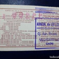 Lotería Nacional: LOTERIA NACIONAL ADMINISTRACIÓN NÚMERO 1 DE VILLACARRILLO - JAÉN. Lote 219020170