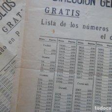 Lotería Nacional: 2 HOJAS DIFERENTES 1938 / DIRECCIÓN GENERAL DE TIMBRE Y MONOPOLIOS - LISTA DE LOS NÚMEROS PREMIADOS. Lote 219157033