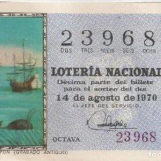 Lotería Nacional: LOTERÍA NACIONAL 23968 14 AGOSTO 1970 SORTEO 23/70. Lote 219204398
