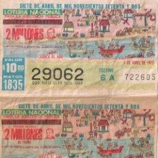 Loterie Nationale: LOTERÍA NACIONAL MÉXICO 29062 7 ABRIL 1972. Lote 219229578