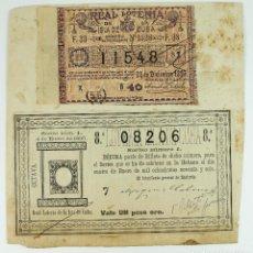 Lotería Nacional: REAL LOTERÍA DE LA ISLA DE CUBA - 1895 Y 1896 - 2 BILLETES DE LOTERÍA PEGADOS SOBRE PAPEL.. Lote 219233101