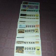 Lotería Nacional: 187 DECIMOS DE LOTERIA NACIONAL DE LOS SABADOS COMPRENDIDOS ENTRE EL 90.000 AL 99.000 (NUMEROS ALTOS. Lote 219718272